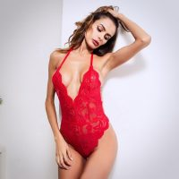 Ladies V Neck Nude Lace Onesie in Red