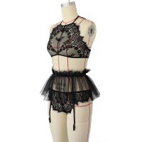 Ladies Lace Dobby Lingerie 3pc in Black
